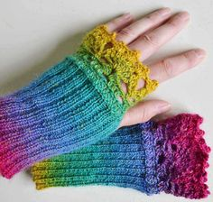 Rainbow knitted gloves with lace crochet trim by Berniolie on Etsy, $26.00