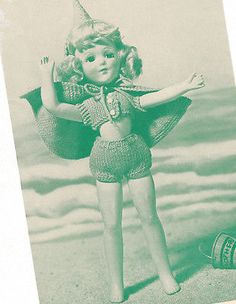 """Vintage Knitting PATTERN 14"""" Doll Clothes Swim Suit Shorts Set Mary Hoyer Arlene"""