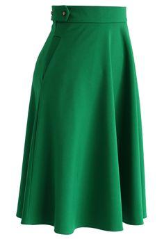 Falda Básica Línea A en Color Verde Esmeralda - Bottoms - Retro, Indie and Unique Fashion