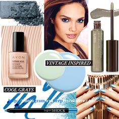 """Vintage-inspired cool grays, chalky pastels and metallic blue accents create a fresh transition for your makeup between seasons. """"Like"""" if you agree!"""