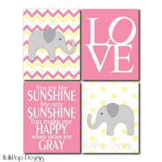 Baby Girl Nursery Prints Pink Yellow Elephant by HollyPopDesigns, $43.00