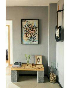 Bench for front entrance Cinder Block Furniture, Interior And Exterior, Interior Design, Diy Casa, Diy Furniture Projects, Ceiling Decor, Ideal Home, Decoration, Bedroom Decor