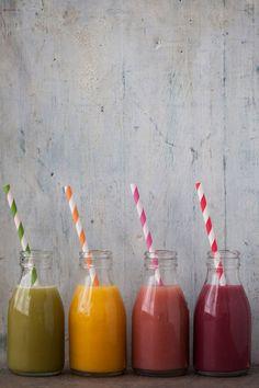 Smoothies:  1) kiwi & apple  2) mango & passion fruit   3) strawberry & banana   4) blackberry, strawberry & blueberry | Borrowed Light