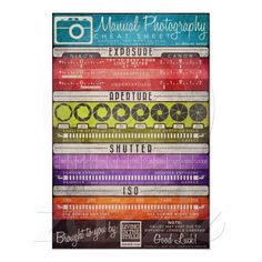 """Manual Photography Cheat Sheet Print from Zazzle.com made by """"Living in the stills"""" Awesome chart! It may not mean a lot to you now if you are a newby, but as you learn it will be amazingly helpful!!! Learn it love it!"""