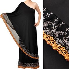 Black One Shoulder Toga Saree Lace Cocktail Party Maxi Dress. Could be faked with two long skirts?