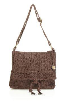 Crochet Flap Tote In Brown.