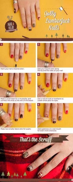 Nail Klub: A Jolly Lumberjack Manicure!  I really want to try this, but if I did, my nails would distract me all day!