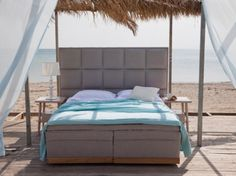Ensure a great night's rest with the help of Coco-Mat's four-layer bed system. It's bound to help you feel more rested with each layer specially designed to give the bed the elasticity your body needs. Outdoor Furniture, Outdoor Decor, Contemporary Furniture, Living Room, Interior Design, Pillows, House, Home Decor, Greece