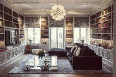 Gravity Home — Dramatic Stockholm home of Emilia de Poret. Fancy Living Rooms, Home Living Room, Living Spaces, Gravity Home, Interior And Exterior, Interior Design, Home Libraries, Bookshelves Built In, Matilda
