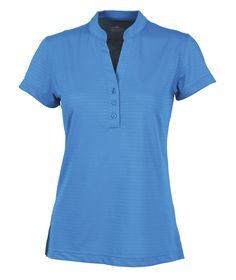 Charles River Apparel 2617 Women's Shadow Stripe Mandarin Collar Polo T-Shirt Ocean Blue Full View