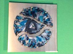 SPOILED TEARS.Fused glass, On rvs (steel made by Ruud Klerks)