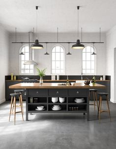 Oficina industrial ConcreteIf you're going for an industrial style, concrete is a great option for k Industrial Kitchen Design, Modern Industrial, Kitchen Interior, Kitchen Decor, Kitchen Ideas, Loft Kitchen, Country Kitchen, Kitchen With Grey Floor, Tiles For Kitchen