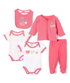 Sweet  Soft Baby Girls 5 Piece Cardigan Gift Set 03 Months Pink Hearts >>> Read more reviews of the product by visiting the link on the image.-It is an affiliate link to Amazon.