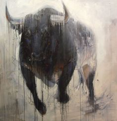 Bull Painting by Abraham Pinto