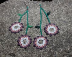 Huichol Peyote Beaded Earrings P by HuicholArte on Etsy