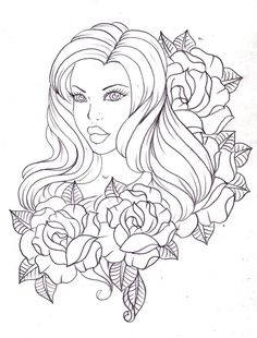 A lady among roses by Nevermore-Ink on deviantART