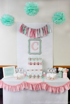 Baby Shower Ideas For Girls Color Schemes Backdrops 69 Trend.- Baby Shower Ideas For Girls Color Schemes Backdrops 69 Trendy Ideas - Coral Baby Showers, Mint Bridal Showers, Mint Baby Shower, Baby Boy Shower, Baby Girl Shower Themes, Girl Themes, Baby Shower Desserts, Baby Shower Cakes, Baby Shower Centerpieces