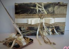 Burlap Guest Book and Pen Set, Realtree Camo Wedding Guest Book and Pen set. Camo Wedding Set, Realtree Camouflage Wedding Guestbook by TheMomentWedding on Etsy https://www.etsy.com/listing/233424219/burlap-guest-book-and-pen-set-realtree