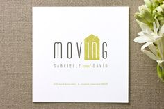 Moving IN Moving Announcements by kelli hall New Address Cards, Invitation Design, Invitations, Moving In Together, Moving Announcements, Scrapbook Paper Crafts, Scrapbooking, Chalkboard Signs, Paper Goods