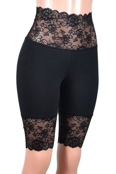 Knee Length Wide Waistband Black Stretch Lace Shorts XS S M L XL plus size high-waisted goth bike shorts Short High Waist cotton Plus Size Goth, Black High Waisted Shorts, Lace Bra, Lace Lingerie, Gothic Lingerie, Stretch Lace, Black Cotton, Lace Shorts, Mini Skirts