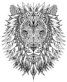 Free coloring page «coloriage-adulte-difficile-tete-lion».: