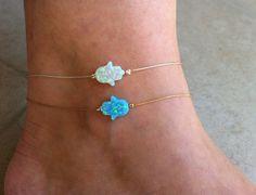 Holiday SALE! 2 layering Hamsa opal ankle bracelets, Fatima hand blue opal 14K gold filled + Hand of God white opal sterling silver anklet