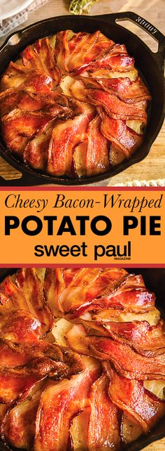 The most amazing combination of layers of thinly-sliced potatoes sandwiched with shredded gruyere cheese, wrapped in bacon, and slowly roasted in the oven!