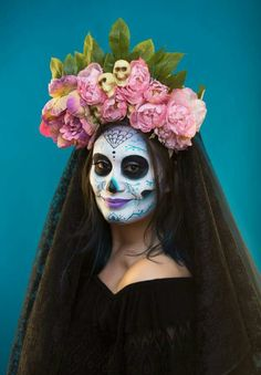 Mexican Sugar Skull Makeup - Day of the Dead - Halloween inspiration - Floral Headpiece Sugar Skull Makeup, Floral Headpiece, Day Of The Dead, Flower Crown, Halloween Face Makeup, Mexican, Party Ideas, Costumes, Holidays
