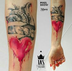 By Rodrigo Tas   Brasil   #Dotwork #Watercolor #Heart #Tattoo