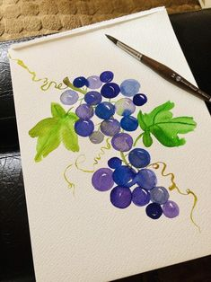 Purple Grapes Original Watercolor Painting 9x12 | Etsy Grape Painting, Zen Painting, Watercolor Art Paintings, Bottle Painting, Chair Painting, Watercolours, Watercolor Fruit, Easy Watercolor, Watercolor Cards