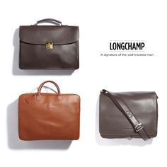 Longchamp briefcases and bags for men.  This would be great for my 1st. born son.