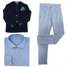 COMPLETO BAMBINO ALESSANDRINI KIDS Abito da bambino di Daniele Alessandrini Kids composto da una giacca blu, un pantalone con stampa a micro quadri e una camicia azzurra. Abito Alessandrini Kids casual per far sentire il tuo bambino un vero ometto. #alessandrinikids #danielealessandrinikids #abiti #completi #suit #cerimonia #bimbo #bambino #ragazzo #child #children #boys #elegant #cerimony #shopping #fashion