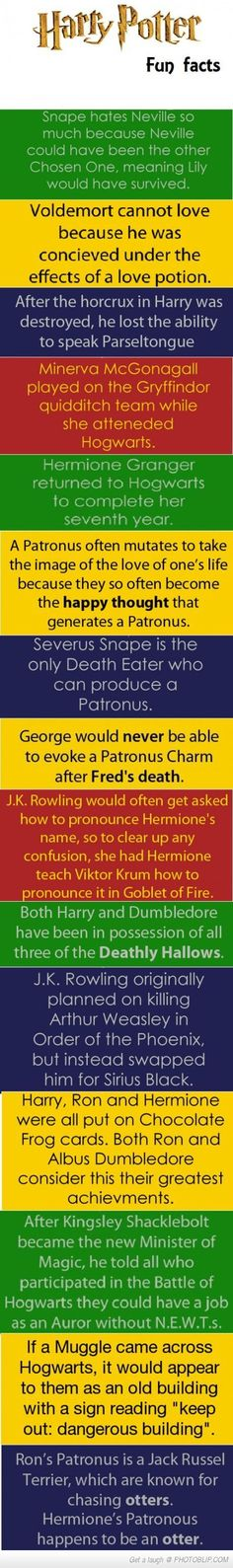 Harry Potter Fun Facts - The last one is my favorite!!! -