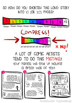 Art and Writing References — vulpineninja: Tutorial: How to Draw a ONESHOT comic Comic Book Writing, Writing Comics, Comic Book Layout, Drawing Tips, Drawing Reference, Drawing Stuff, Comic Tutorial, Comic Drawing, Comic Panels