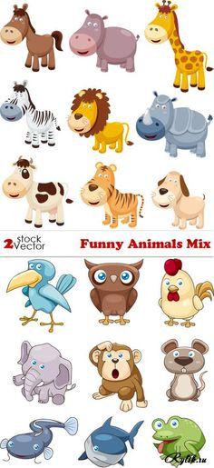 Милые животные - детские векторные рисунки. Vectors - Funny Animals Set