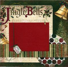 12x12 Premade Christmas Scrapbook Page - Jingle Bells