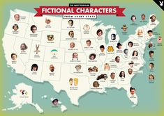 The most popular fictional character from every state [2500 x 1777] - Imgur