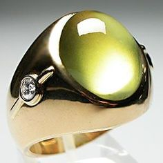MENS NATURAL CATS EYE CHRYSOBERYL & DIAMOND RING SOLID 14K GOLD