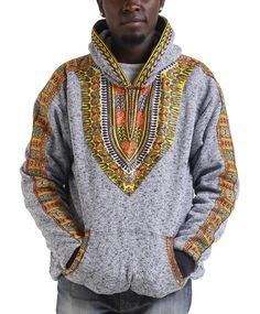 Kujaa- This style of RolaReefa hoodie uses a bigger dashiki print on the front of the hoodie, for a maximum Dashiki effect. this is a versatile hoodie that will do for the gym, with jeans when you're out and about or with PJ bottoms at home