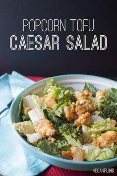 Popcorn Tofu Caesar Salad | Vegan Fling