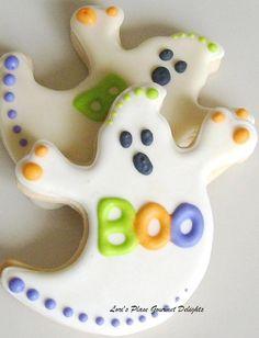 Ghost Decorated Cookies - Halloween Cookies - Halloween Cookie Favors - 1 Dozen. $34.99, via Etsy.