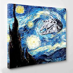 Kessel Run Millenium Falcon Starry Night Canvas Print by PeriodDesign on Etsy