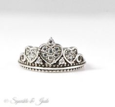 Sterling Silver and Cubic Zirconia Crown Amore Heart Ring – Sparkle & Jade