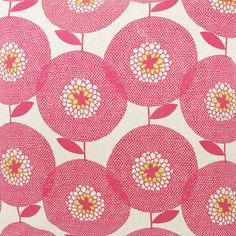 Fabric by the metre - Flower Field, in Rosy.  Printed with water based inks in South Africa
