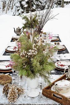 winter tablescape, winter centerpiece