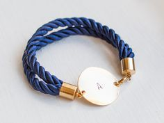 rope bracelet Nautical  blue navy bracelet  Personalized Bracelet jewelry initial bracelet bridal wedding bridesmaid silk cord bracelet knot