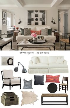 A white and eclectic living room by Jenny Wolf Interiors recreated for only $3000