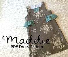 Maddie - Girl's Ruffled Dress Pattern PDF. Girl Kid Toddler Child Sewing Pattern. Easy Sew Sizes 12m-10 included. $7.75, via Etsy.