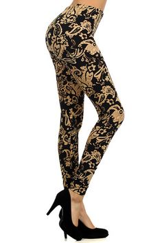 Look at this Black & Gold Paisley Leggings by Leggings Depot Plus Size Leggings, Knit Leggings, Girls In Leggings, Printed Leggings, Women's Leggings, Tights, Leggings Fashion, Fashion Pants, Fashion Outfits
