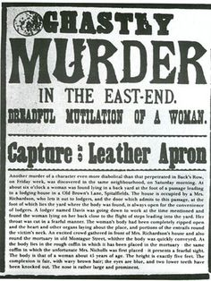 Jack the Ripper was the nickname for a serial killer that stalked the general area in and around Whitechapel in London, England during Nothing is known for sure regarding the identity of this killer or the exact number of victims. Breaking Bad, Who Is Jack, Jack Ripper, Police, Victorian London, Victorian Era, Vintage London, Newspaper Headlines, Newspaper Report